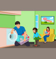 father doing laundry while mother and kids in the vector image