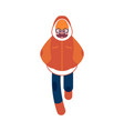 flat sketch man winter clothing fun vector image vector image