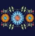 floral pattern over blue background vector image vector image