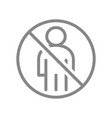 forbidden sign with a user profile line icon vector image