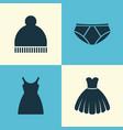 garment icons set collection of beanie dress vector image vector image