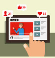 hand touching screen mobile blogger man video vector image vector image