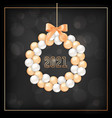 happy new year greeting card with wreath made of vector image