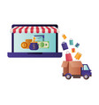 laptop with tent and gift box vector image vector image