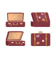leather vintage suitcases open closed briefcases vector image vector image