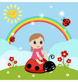 Little girl sitting on a ladybug vector image vector image