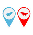 map pointer with origami paper plane icon set red vector image vector image