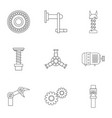 mechanism icon set outline style vector image vector image