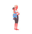 mother holding little son woman embracing baby boy vector image