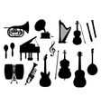 Musical instruments silhouette icons vector image vector image