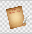 old grungy parchment paper and white quill pen vector image vector image