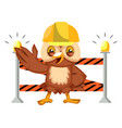 owl on construction yard on white background vector image vector image