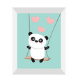 panda ride on the swing pink flying hearts cute vector image vector image