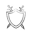 protection shield swords concept safety badge vector image