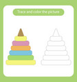 pyramid toy with simple shapes trace and color vector image vector image
