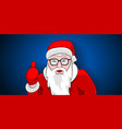 santa claus thumbs up portrait on blue background vector image vector image