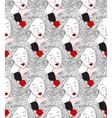 seamless pattern with womens faces vector image