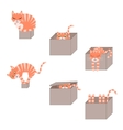 Set of cute cartoon cats in boxes vector image vector image