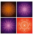 set ornamental flowers hindu mandalas vector image