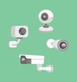 set security camera cctv cartoon vector image vector image