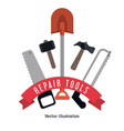shovel hammer saw tool icon repair concept vector image vector image