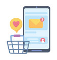 smartphone online shopping email social network vector image vector image