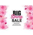 spring sale colorful banner with sakura flower vector image vector image