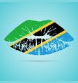 tanzania flag lipstick on the lips isolated on a vector image vector image