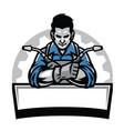 welder with welding tools badge vector image vector image