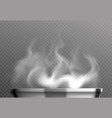 white steam over pan vector image