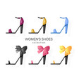 woman shoes set promotion brochure banner or vector image vector image