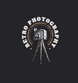 retro photo camera logo - vector image
