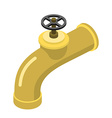 Golden tap on white background faucet of precious vector image