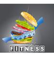 hamburger fitness vector image