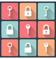 Key and padlock flat icons set vector image
