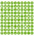 100 tea cup icons hexagon green vector image vector image