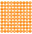100 woman shopping icons set orange vector image vector image
