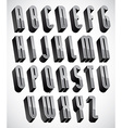 3d font thin and tall dimensional letters set made