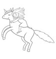 a children coloring bookpage a fluing unicorn vector image
