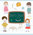 back to school cartoon baby boy and girl vector image vector image