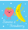 Banana and strawberry Sparkles on blue Happy fruit vector image