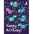 birthday card with cute unicorns cartoon vector image vector image