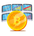 bitcoin with graph diagram trading vector image
