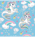 blue seamless pattern with sea unicorns vector image vector image