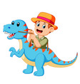 boy playing and using the blue tyrannosaurus vector image vector image