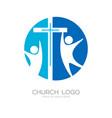 church logo and cristian symbols vector image vector image