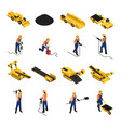 coal mining isometric icons vector image