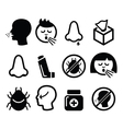 Cold flu icons - nasal infection allergy nose vector image vector image
