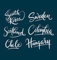 colombia and scotland hand written typography vector image vector image
