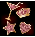 Crown star heart the martinis decorated with vector image vector image